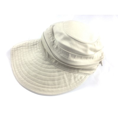 Physician Endorsed Cap Visor Ladies Cotton Packable UPF 50 Cream One Size   eb-66782575