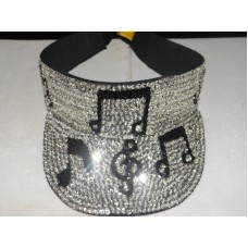 SILVER SEQUIN VISOR MUSIC NOTES JAZZ ROCK BAND ORCHESTRA GOLF DJ ENTERTAINER NEW  eb-96172811