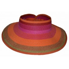 "Summer Beach Mujer Roll Paper Straw 4"" Visor UPF 50+ UV Protection Pink Fuchsia 685987942590 eb-42681294"