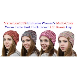 CC Beanie NYfashion101® Exclusive 's Multi Color Cable Knit Thick Slouch   eb-70402821