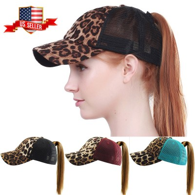 Leopard Ponycap Messy High Bun Ponytail Adjustable Mesh Trucker Baseball Cap Hat  eb-01611819