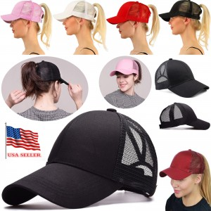 NEW Breathable cool High Bun Ponytail Adjustable Mesh Trucker Baseball Cap Hat  eb-65608904