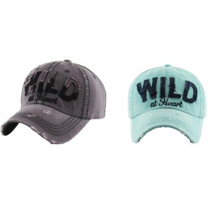 """WILD AT HEART"" HIPPY DISTRESSED LADIES CAP HAT GRAY BLACK OR MINT NAVY BLUE  eb-62748499"