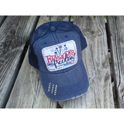 "BLING BANTER ""Fireworks and Freedom"" Custom Patch Baseball Cap Trucker Bling  eb-44930249"