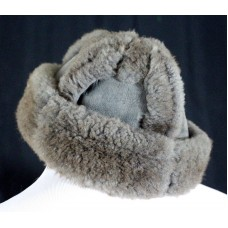 FASHION DESIGNER GRAY 100% SHEARLING SHEEPSKIN FUR ROUND BUCKET HAT CAP One Size  eb-16079469