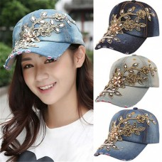 Fashion Baseball Cap Denim Hats With Rhinestones Flower Mujer Snap Back Caps US  eb-92226323