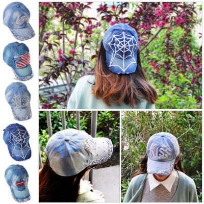 Fashion Woman Denim Jean Cap Rhinestone Bling Studded Adjustable Baseball Cap  eb-54171925