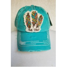 Free Spirit Feathers  Turquoise Hat Factory Distressed Cap Adjustable   eb-74637759