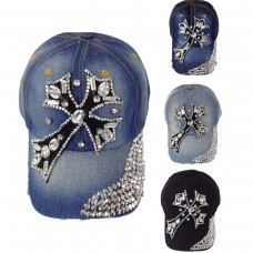 Mujer  Rhinestone Cross Baseball Hat Denim Bling Adjustable Cap 640671102469 eb-48867289