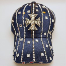 Mujers Denim Jean Rhinestone Sparkle Studded Bling Fashion Cross Baseball Hat  eb-82404761