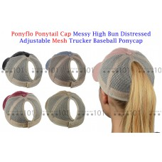Ponyflo PonyCap Messy High Bun Distressed Adjustable Mesh Trucker Ponytail Cap  eb-78475529