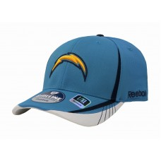 REEBOK NFL LA Chargers Sky Blue White Yellow Bolt Stretch Fit Cap Adult Hombre Hat  eb-85883931