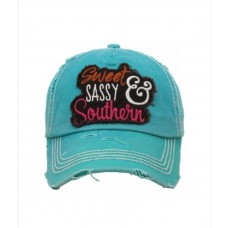 "Rugged Distressed ""Sweet  Sassy  Southern "" Washed Vintage Baseball Cap...New  eb-13769447"