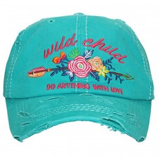 Wild Child Do Anything With Love Embroidered Distressed Baseball Cap Turquoise  eb-53485171