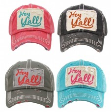 """HEY Y'ALL""  Embroidered  Vintage Style Ball Cap with Washedlook  eb-18174723"