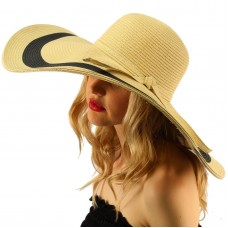 "2Tone  Floppy Super Big Wide Brim 7""+  Summer Derby Beach Dress Sun Hat Natural 26265210138 eb-51841968"