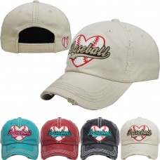 Baseball Mom Heart Lace Baseball Lover Game Cap Vintage Worn Torn Look Ball Hat   eb-28570937