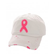 Distressed Breast Cancer Awareness Pink Ribbon Baseball Hat Cap OffWhite 683121169117 eb-75151666
