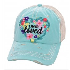 I Am So Loved Embroidered Factory Distressed Mujer Baseball Cap Mint White Hat  eb-35172968