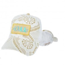 "Judith March Gold ""Y'all"" Hat  White Crochet  eb-00495771"