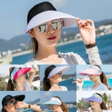 Mujer Ladies Large Brim Summer UV Protection Sun Visor Hat Golf Sport Caps  eb-08671118