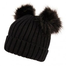 Mujer's Winter Chunky Knit Beanie Hat with Double Faux Fur Pom Pom Ears  eb-26905598