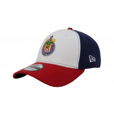 NEW ERA 3930 Liga MX Chivas de Guadalajara White Blue Red Stretch Fitted Hombre Hat  eb-89957863