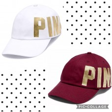 NWT Victoria's Secret PINK Logo Baseball Cap Hat Adjustable White And Gold  eb-14854767