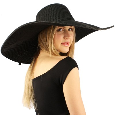 "Summer Elegant Derby Big Super Wide Brim 8"" Brim Floppy Sun Hat Funeral Black 26265011551 eb-89854118"
