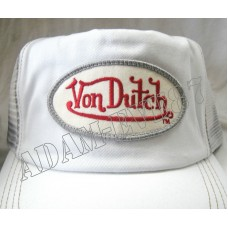 VON DUTCH  AUTHENTIC BASEBALL CAP TRUCKER HAT CLASSIC LOGO WHITE / WHITE MESH  eb-34794164