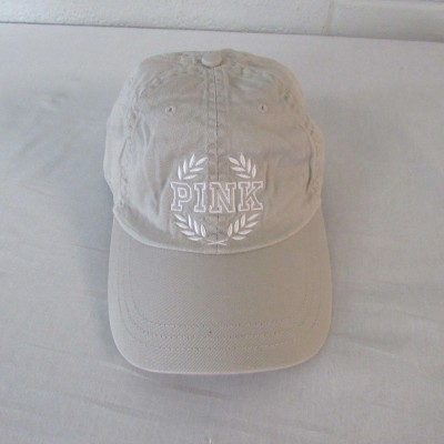 "Victoria's Secret ""PINK"" Crest Embroidered Hat Cap Adjustable Gray/White NWOT  eb-17415878"