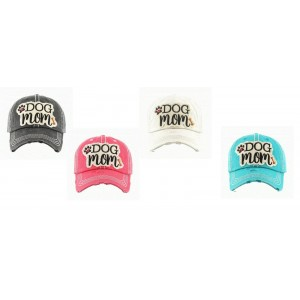 "Western Ladies ""Dog Mom"" Bone Puppy Paw Cap Hat Pink Blue Black or Off White  eb-69355363"