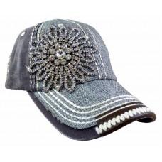 Olive and Pique Super Bling Ball Cap Glass Beaded  Duo Tone Stitch Linen  eb-72369899