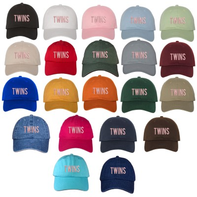 Twins Pink Font Embroidered Polo Baseball Cap Many Colors Available  eb-84175403