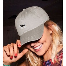 Victoria's Secret PINK Glacier Grey Dog Logo Baseball Hat Adjustable Cap  NWT  eb-48840142