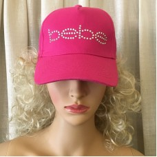 BEBE Logo Hot Pink Swarovski Crystal Baseball Cap New With Tags O/S Adjustable  eb-18549159