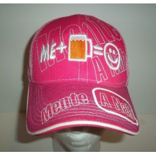 Hombrete A Nah Snapback Mesh Hat Cap Pink White Me + Beer = Happy Smiley Face Rare  eb-93583873