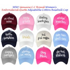 NEW Genuine C.C Mujer's Embroidered Quote Cap Adjustable Cotton Baseball CC Cap  eb-69285742