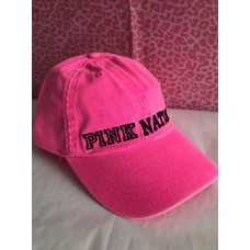 Victoria's Secret  PINK Nation Washed Baseball Cap Hot Neon Hat Black Logo NWT 667545130106 eb-72454181