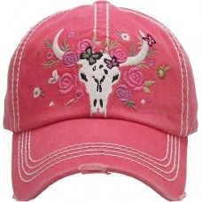 Longhorn Cow Skull Roses Ladies Cap Red Factory Distressed Hat  eb-76616845