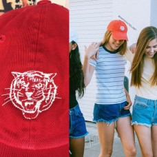 New Brandy Melville Tiger Embroidered Red Baseball Hat Katherine Adjustable Nwt  eb-34659364