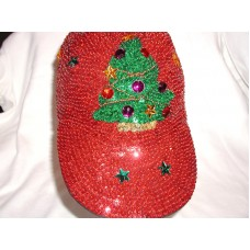 RED SEQUIN BASEBALL CAP CHRISTMAS TREE GLITTERING GIFT NICE FOR RED HAT SOCIETY  eb-68145743