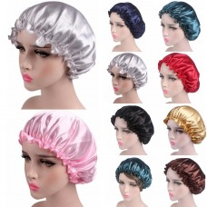 Silk Satin Night Sleep Cap Hair Bonnet Hat Head Cover Wide Band Adjust Elastic  eb-29777942